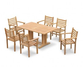 Cadogan 6 Seater Teak Pedestal Table 1.5m & Yale Stacking Chairs