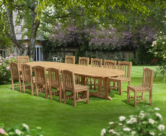 Winchester 12 Seater Teak 4m Oval Table and Chairs Set