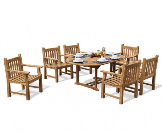 Oxburgh 6 Seater Single Leaf Extending Table with Turners Armchairs