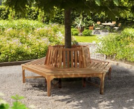 Teak Hexagonal Tree Seat - Wrap Around Tree Bench