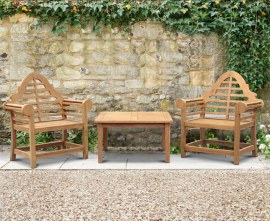 Winchester 2 Seater Teak Conversation Set with Lutyens-Style Armchairs