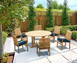 Sissinghurst 6 Seater Round 1.5m Dining Set with Cannes Armchairs