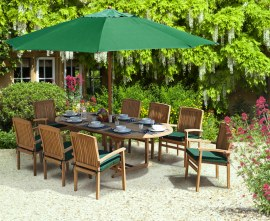 Oxburgh 8 Seater 1.8-2.4m Extendable Table with Cannes Stacking Armchairs