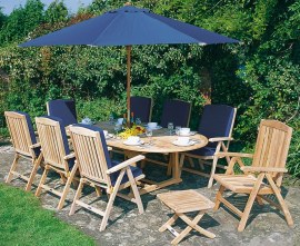Oxburgh 8 Seater Teak Extendable Table with Tewkesbury Recliner Chairs