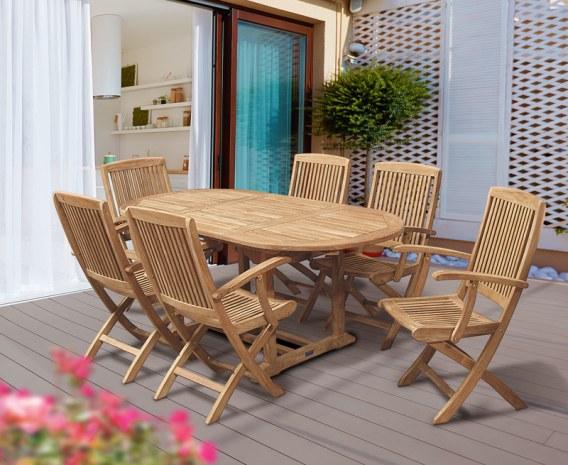 Oxburgh Curzon Single Leaf Extending Table & 6 Palma Folding Armchairs