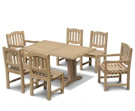 Rectory 6 Seater Teak 1.5m Rectangular Table and Kennington Chairs Set
