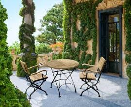 Cafe Round 80cm Table and 2 Armchairs, Folding Garden Set - Black