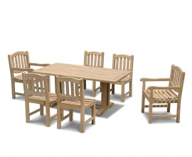 Rectory 6 Seater Teak 1.8m Rectangular Table and Kennington Chairs Set