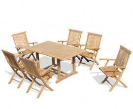 Winchester 6 Seater Rectangular Table 1.5m with Oxburgh Folding Armchairs