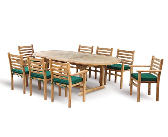Oxburgh 8 Seater Teak 1.8-2.4m Extending Table with Sussex Armchairs