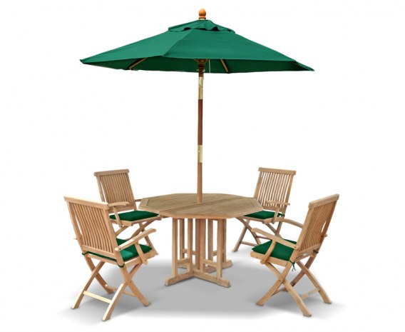 Berwick 1.2m Octagonal Gateleg Table and 4 Oxburgh Folding Armchairs Set