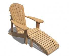 New England Teak Adirondack Chair with Footrest