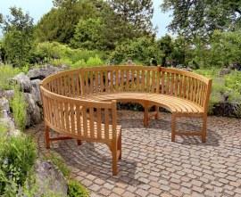 3/4 Round Teak Garden Bench