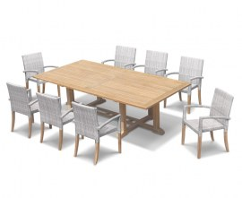 Winchester 8 Seater Teak 2.6m Rectangular Table with St. Moritz Chairs