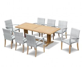 Rectory 8 Seater Teak 2.25 x 0.9m Table and St. Moritz Chairs