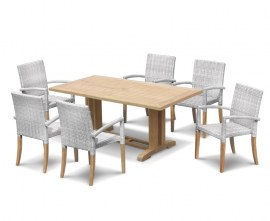 Rectory 1.8m Pedestal Table and 6 St. Moritz Stacking Chairs Set