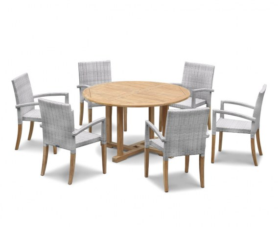 Sissinghurst 6 Seater Round 1.3m Dining Set with St. Moritz Chairs