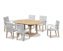 Oxburgh Teak Outdoor Dining Set with Stacking Chairs