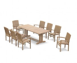 Rectory 8 Seater Teak 2.25 x 0.9m Table and Cannes Chairs