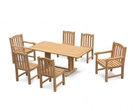 Rectory 6 Seater Teak 1.8m Rectangular Table and Gloucester Chairs Set