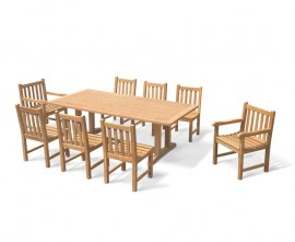 Rectory 8 Seater Teak 2.25 x 1.1m Table and York Chairs