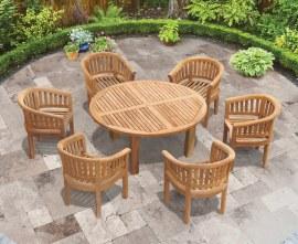 6 Seat Teak Garden Dining Set | Orion 1.5m Round Table with Apollo Armchairs