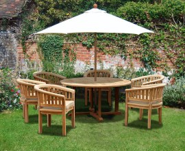 Sissinghurst 6 Seater Round 1.5m Dining Set with Banana Chairs