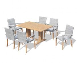 Cadogan Teak Pedestal Table 1.5m & 6 St. Tropez Rattan Stacking Chairs