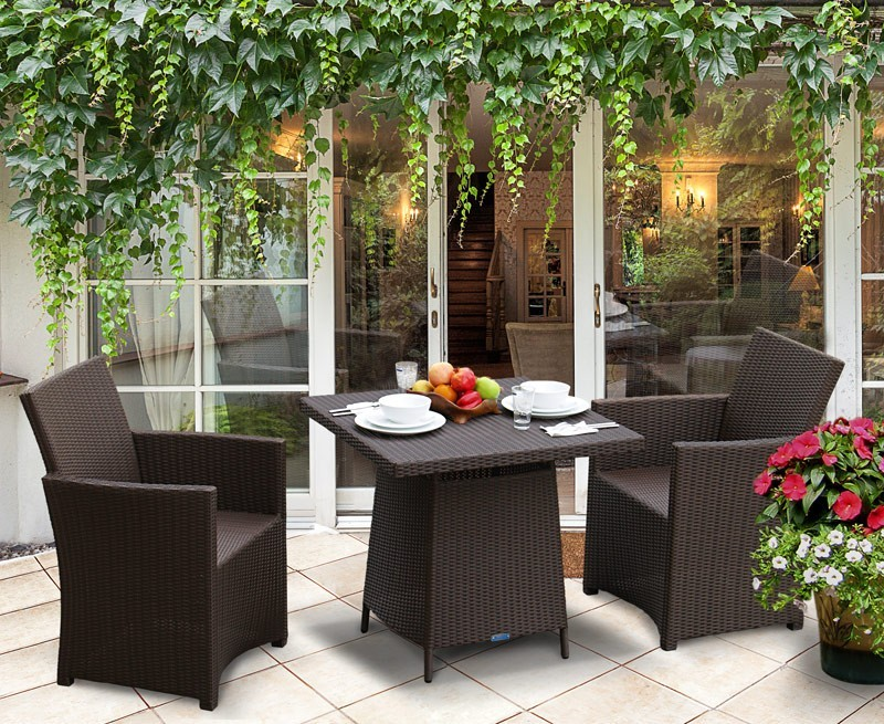 Azure 2 Seater Rattan Garden Dining Set with 80cm Square Table