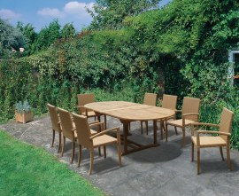 Oxburgh 1.8-2.4m Extending Table and 8 St. Moritz Stacking Chairs Set