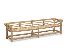 Teak Low Back Lutyens Outdoor Bench - 2.7m