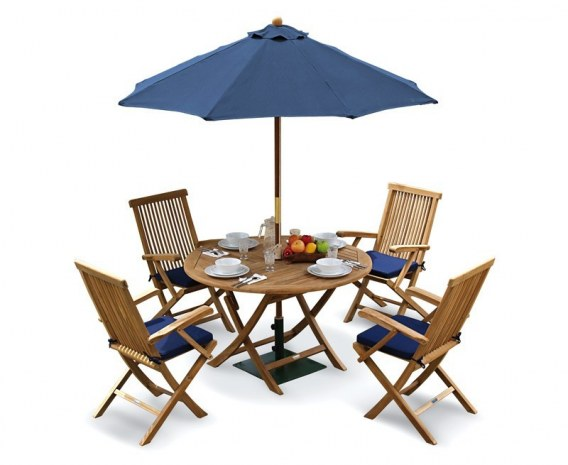 Lymington Round 1.2m Folding Dining Set with 4 Newhaven Armchairs