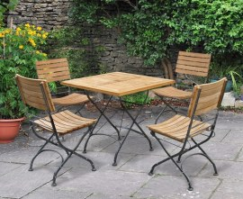Café Square 80cm Table and 4 Side Chairs, Folding Garden Set - Black
