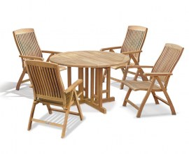 Berwick 1.2m Round Gateleg Table and 4 Cannes Reclining Chairs Set