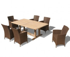 Rectory 6 Seater Teak 2m Rectangular Table and Verona Armchairs Set