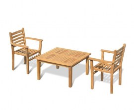 Winchester 2 Seater Teak Coffee Set with Sussex Stacking Armchairs