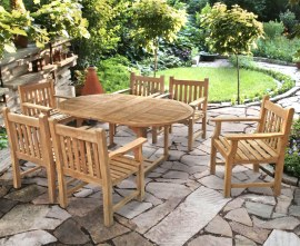 Oxburgh 6 Seat Teak Extendable Dining Table and Chairs Set