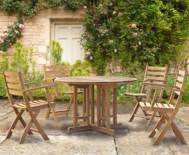 Berwick 1.2m Round Table and 4 Lymington Folding Armchairs Set