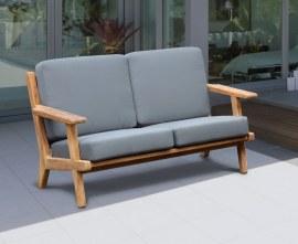 Belmont Teak 2 Seater Mid-century Garden Sofa Bench - Grey