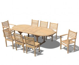 Oxburgh 8 Seater Teak 1.8-2.4m Extending Table with Sussex Chairs