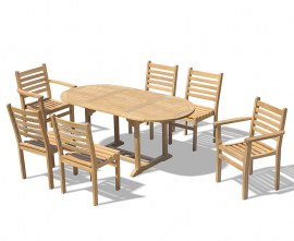 Oxburgh Bijou Single Leaf Extending Table & 6 Sussex Stacking Chairs