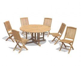 Berwick 1.5m Round Table and 6 Cannes Folding Side Chairs Set