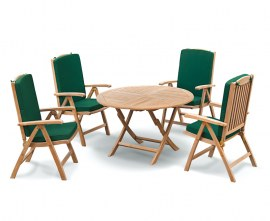 Lymington Round 1.2m Folding Dining Set with 4 Tewkesbury Recliners
