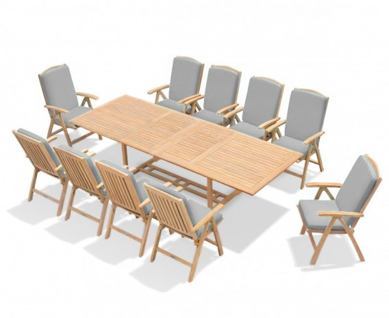 Dorset 2-3m Extending Dining Set with 10 Tewkesbury Recliner Chairs