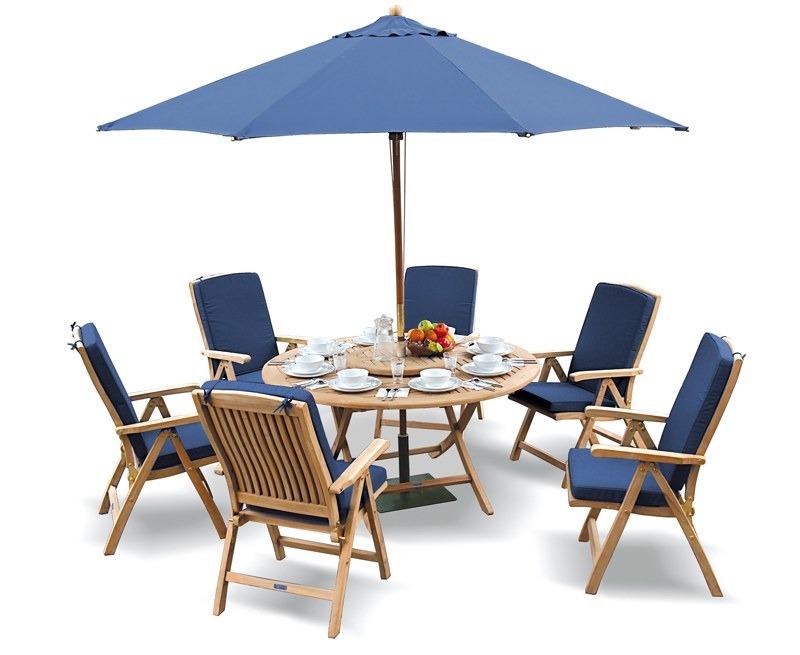 Lymington 6 Seater Round 1.5m Dining Set with Tewkesbury Recliners