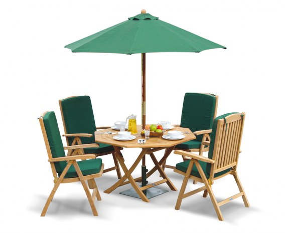 Lymington Octagonal 1.2m Folding Dining Set and 4 Tewkesbury Recliners