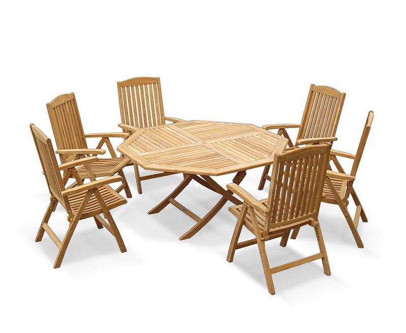 Lymington 6 Seater Octagonal 1.5m Dining Set with Tewkesbury Recliners