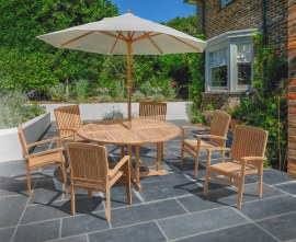 Berwick 1.5m Round Table and 6 Cannes Stacking Armchairs Set