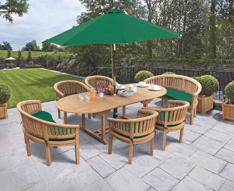 Oxburgh Extendable Teak Table 1.8-2.4m with Banana Chairs and Benches
