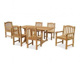 Winchester 6 Seater Teak 1.5m Rectangular Table with Gloucester Armchairs and Side Chairs